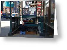 Self At Subway Stairs Greeting Card by Rob Hans