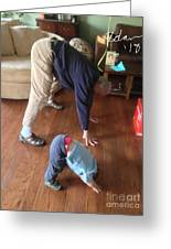 Self Portrait 8 - Downward Dog With Grandson Max On His 2nd Birthday Greeting Card