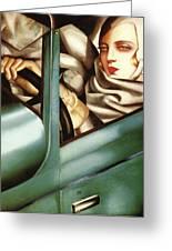 Self Portrait In A Green Bugatti Greeting Card