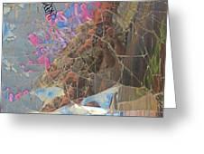 Self Portrait In Broken Glass Found In Graffiti Alley Greeting Card