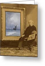 Self Portrait With Seascape Greeting Card