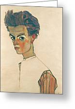Self-portrait With Striped Shirt Greeting Card