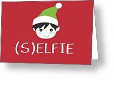 Selfie Elf- Art By Linda Woods Greeting Card