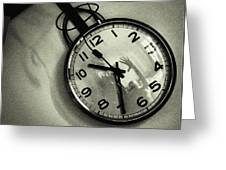 Selfportrait On A Clock Greeting Card