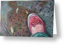 Selfportrait Red Shoe Greeting Card