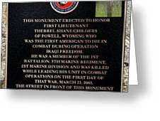 Semper Fi To The 1st Man Down In Iraqi Freedom Plaque Greeting Card