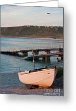 Sennen Cove Boat At Sunset Greeting Card