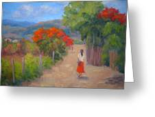 Senorita In A Red Skirt Greeting Card
