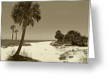Sepia Beach Greeting Card