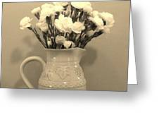 Sepia Gold Pitcher Of Carnations Greeting Card