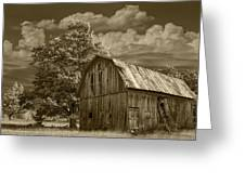 Sepia Michigan Barn Landscape Greeting Card