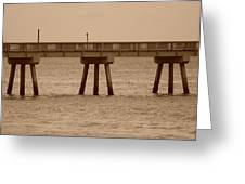 Sepia Pier Greeting Card