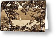 Sepia Sailboat Greeting Card