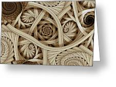 Sepia Swirls Fractal Art Greeting Card