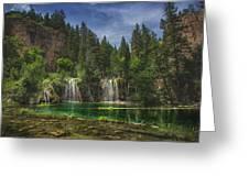 Serene Hanging Lake Waterfalls Greeting Card