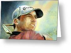 Sergio Garcia In The Castello Masters Greeting Card
