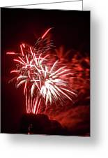 Series Of Red And White Fireworks Greeting Card