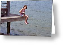 Serious Fishergirl On The Indian River In Florida Greeting Card
