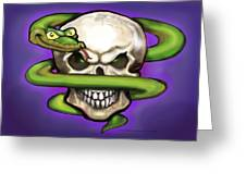 Serpent Evil Skull Greeting Card