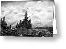 Serpentine Creek In Black And White Greeting Card