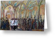 Service In San Fernando Cathedral Greeting Card
