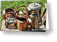 Set Of Ancient Teapots  Greeting Card