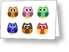 Set Of Six Little Owlets Greeting Card