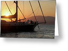 Set Sail On The Aegean At Sunset Greeting Card
