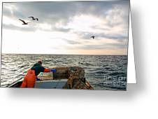 Setting Lobster Traps In Chatham On Cape Cod Greeting Card