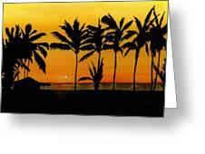 Setting Sun In The Tropics Greeting Card