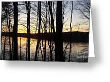 Setting Sun On Monroe Lake Bloomington Indiana Greeting Card