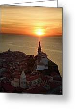Setting Sun On The Adriatic Sea Behind Archangel Michael On Top  Greeting Card