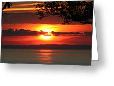 Setting Sun On The Bay Of Fundy Greeting Card