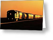 Setting Sun Reflecting Off Train And Track Greeting Card