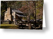 Settlers Cabin Cades Cove Greeting Card