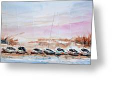 Seven Little Boats Greeting Card
