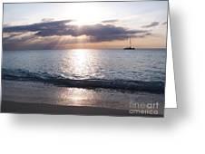 Seven Mile Beach Catamaran Sunset Grand Cayman Island Caribbean Greeting Card by Shawn O'Brien