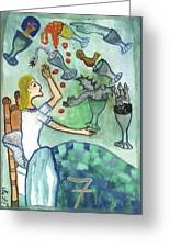 Seven Of Cups And Strange Dreams Greeting Card
