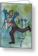 Seven Of Swords Illustrated Greeting Card