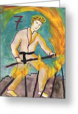 Seven Of Wands Illustrated Greeting Card