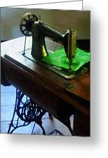 Sewing Machine With Green Cloth Greeting Card