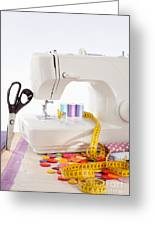 Sewing Machine With Many Sewing Utensils On A Wooden Box Greeting Card