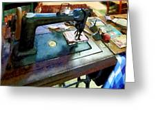 Sewing Machine With Sissors Greeting Card
