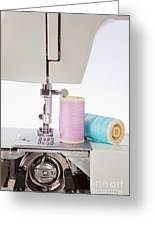 Sewing Threads In Pastel Colors And Detailed View Of A Sewing Machine Greeting Card