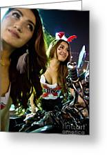 Sexy Bunny Models At A Motorycle Rally In Bangkok Thailand Greeting Card