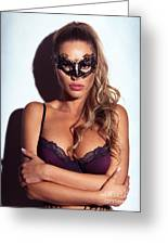 Sexy Glamorous Woman Wearing A Mask Greeting Card