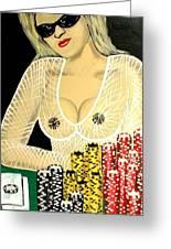 Sexy Poker Girl Greeting Card
