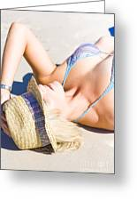 Sexy Woman On Sand Greeting Card