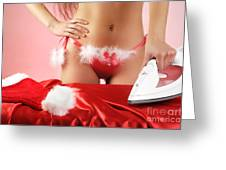 Sexy Woman Preparing For Christmas Holidays Greeting Card