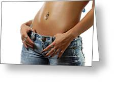 Sexy Woman With Pierced Belly In Blue Jeans Greeting Card